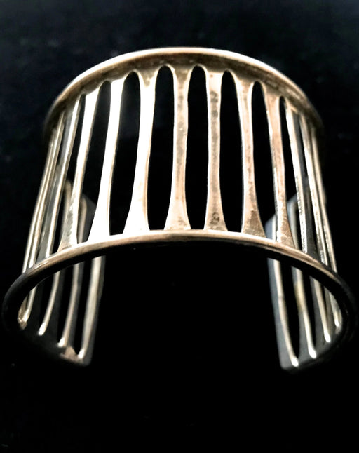 Artisan Wide 926 Silver Mexico Signed Modernist Taxco Cuff Bracelet 44g
