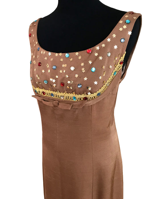 60s Raw Silk Spice Mocha Jewelled Embellished MOD Evening Party Dress