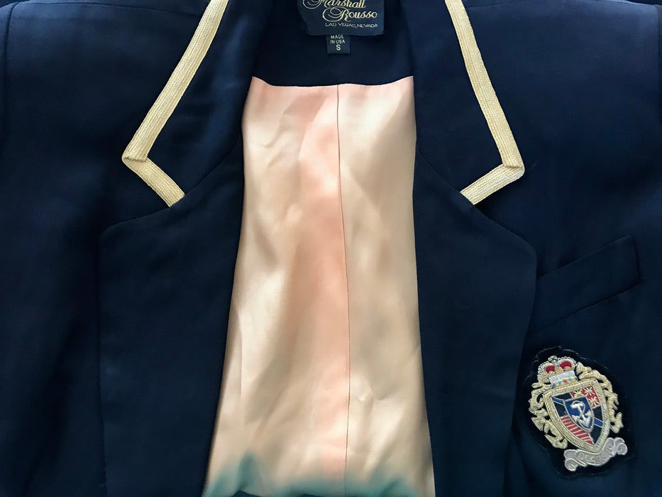 80s Black Crest Naval Nautical Military Metallic Gold Embroidered Blazer Jacket