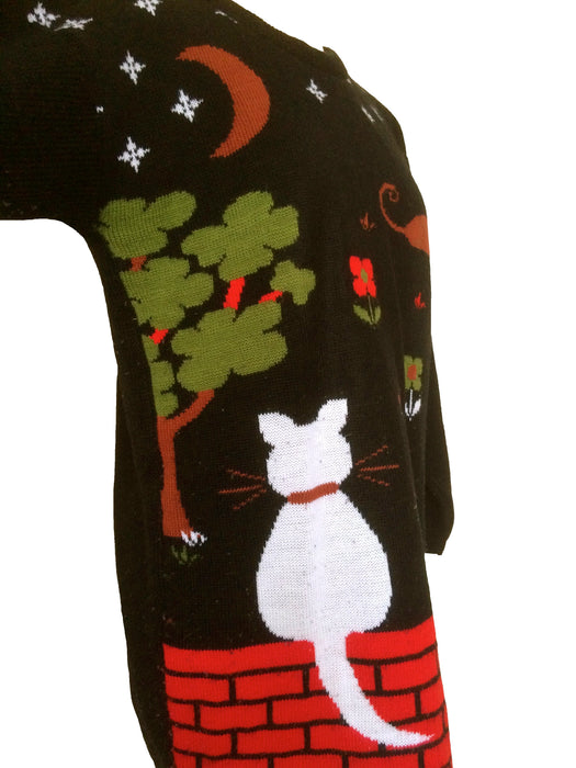 80s Crazy Cat Lady Halloween Black Red White Sweater Pullover Tunic Jumper