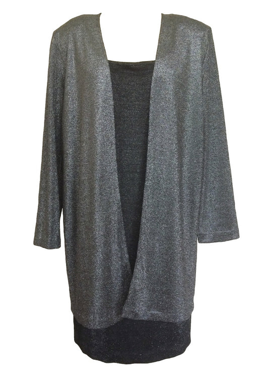 80s Two Piece Black Silver Metallic Lurex Knit Dress & Cardigan Cocktail Disco Suit