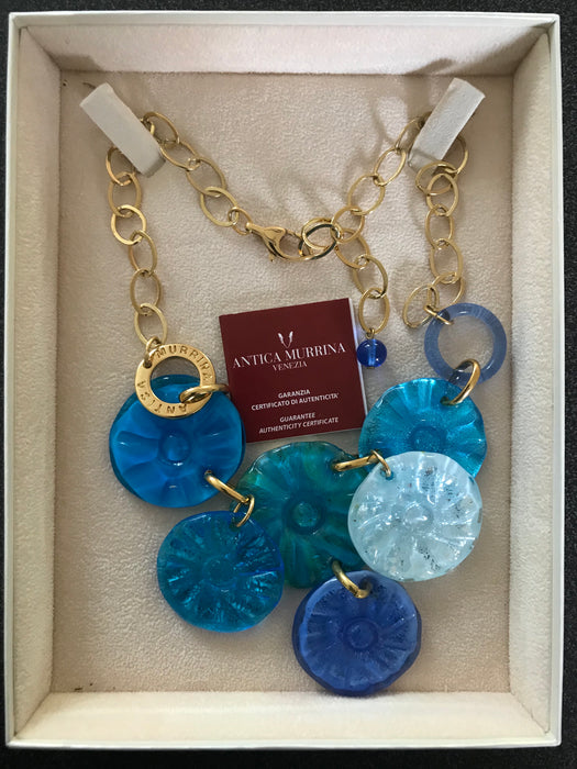 Blue Murano Glass 24kt Gold Leaf Layered Hand Blown Bib Charm Necklace