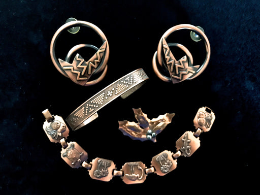 60s-70s 4 Piece Copper Jewelry LOT - 2 Bracelets, Lawton Signed Brooch & Huge Pierced 80s Earrings