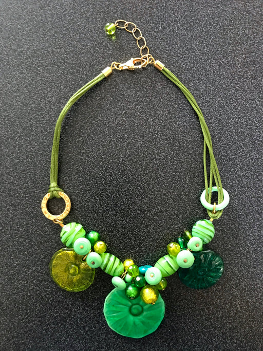 Green Murano Glass 24kt Gold Leaf Layered Hand Blown Bib Charm Necklace