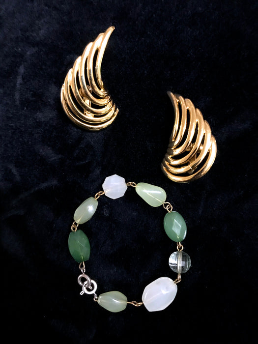 60s 3 in 1 Faux Jade Glass Jewelry Piece - Sweater Dress Clip/Crescent Clip Earrings/Bracelet