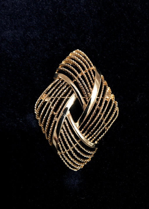 60s-70s Monet Signed Goldtone Twist Rope Nautical Brooch Lapel Pin