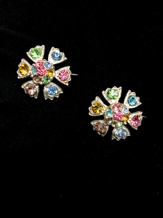40s Art Deco Multi Coloured Rhinestone Domed Flower Pair Brooches Pins Duette