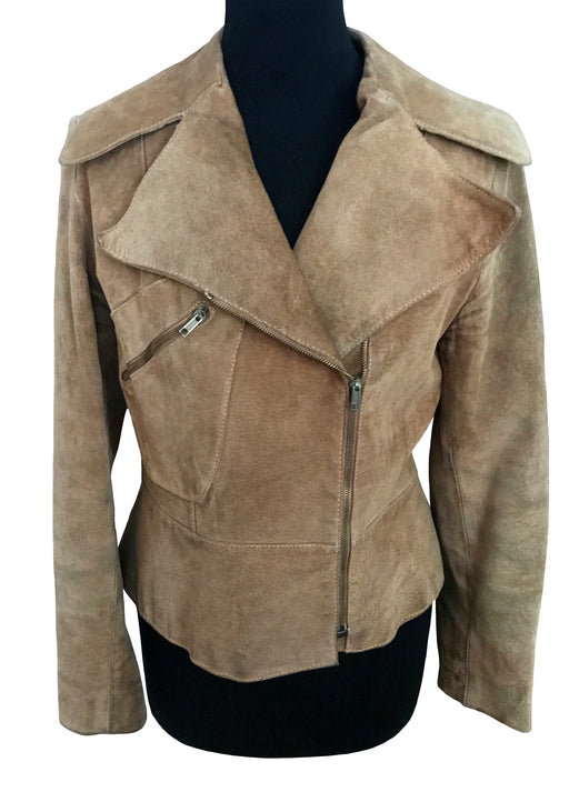 70s Camel Sand Suede Leather Fitted Moto Biker Jacket with Peplum Waist