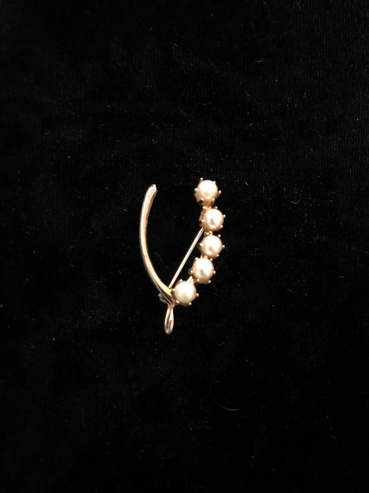 Lucky Wishbone Gift Brooch Lapel Pin with Faux Pearls