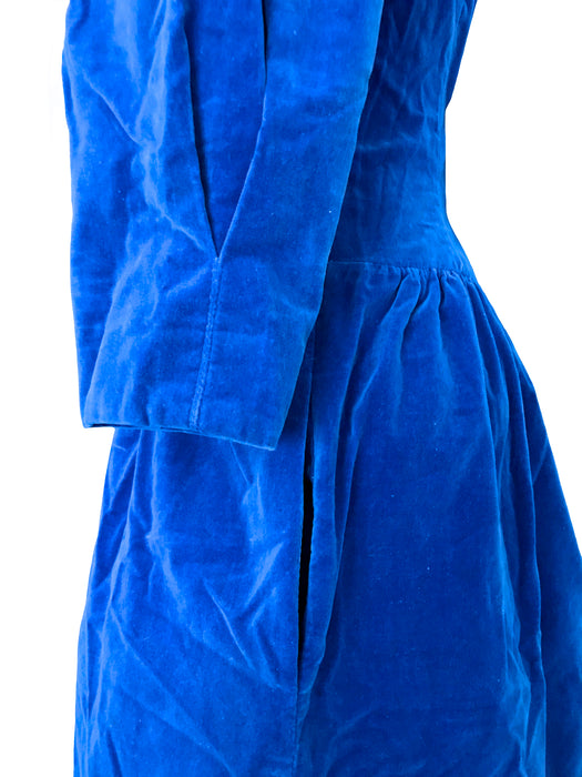 80s does 50s Lanz Sapphire Blue Cotton Velvet Puffed Sleeve Two Pockets Cocktail Party Dress