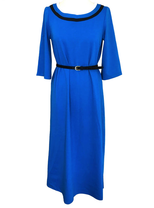 80s Retro Styled Cobalt Blue Nautical Cotton Knit Trapeze Tea Midi Dress