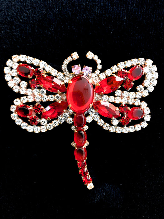 Old Czech Crystal Glass HUGE Red Jelly Belly & Rhinestones Dragonfly Brooch
