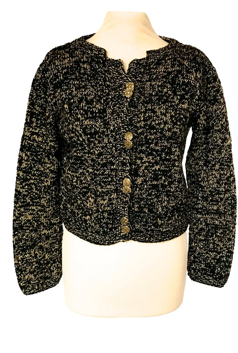 70s Golden Lurex Metallic Thread Black Knit Cropped Steampunk Goth Hippie Boho Street Style Jacket Metal Buttoned Christmas Cardigan Sweater
