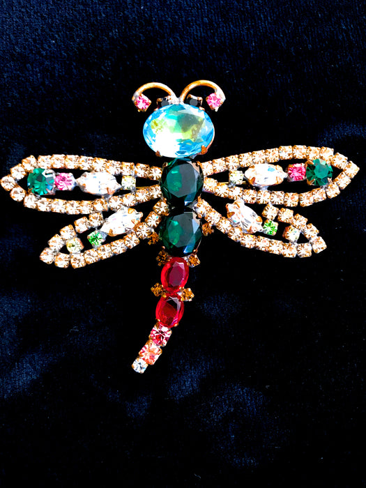 Old Czech Crystal Glass HUGE Blue Green Red Pink Rhinestone Dragonfly Brooch