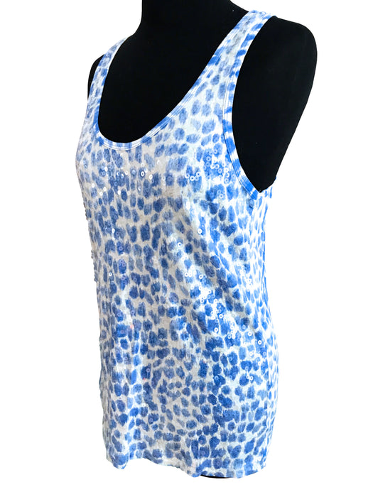 BNWT Blue & White Cheetah Animal Print Sequinned Racerback Top