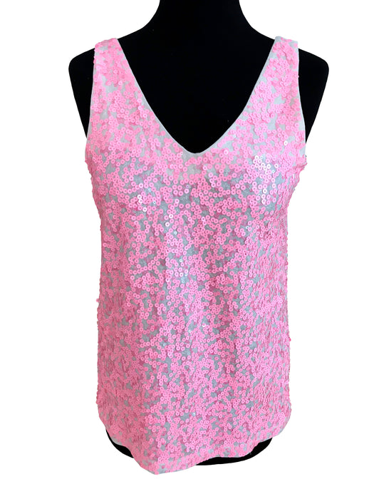BNWT Candy Lollipop Pink V-Neck Sequinned Cotton Tank Top
