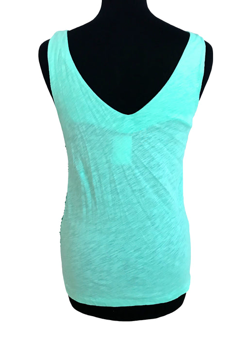 BNWT Fresh Mint Green V-Neck Sequinned Cotton Tank Top