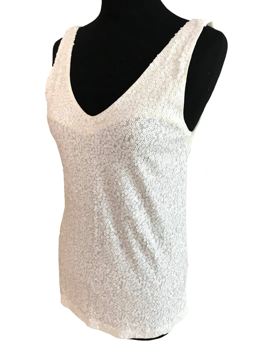 BNWT Ivory Cream Off White V-Neck Sequinned Cotton Tank Top