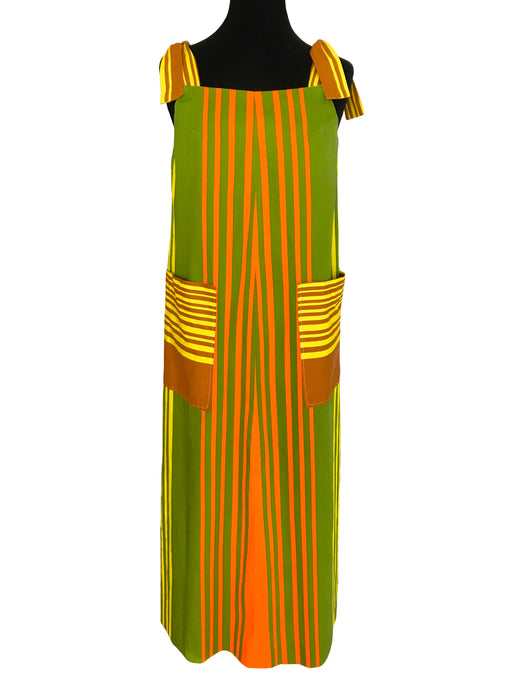 70s 100% Cotton Hawaiian Color Block Boating Stripe Tie Shoulder Boho A-Line Maxi Dress w/ Pockets