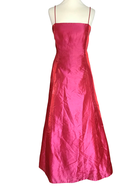 Metallic Coral Pink Sheen Metallic Satin Sheath Flared Evening Dress