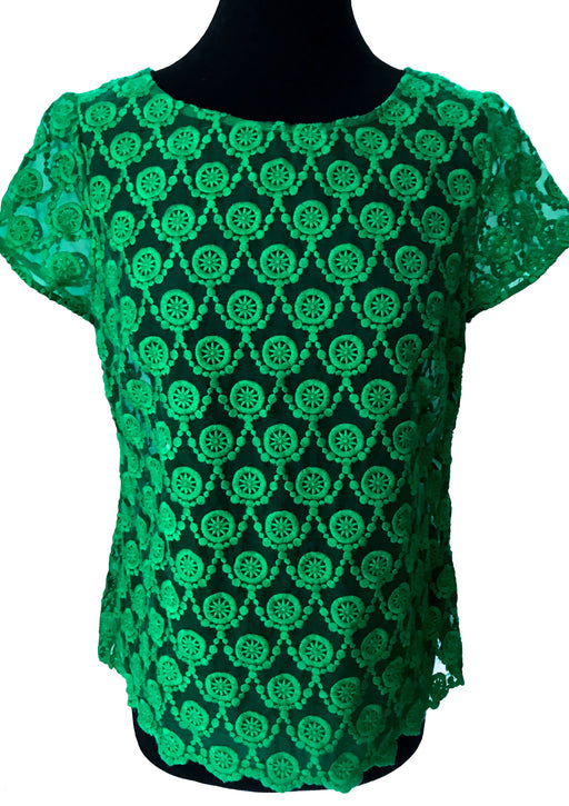 Cute Betty Jackson Emerald Green Sheer Lace Top with Cap Sleeves