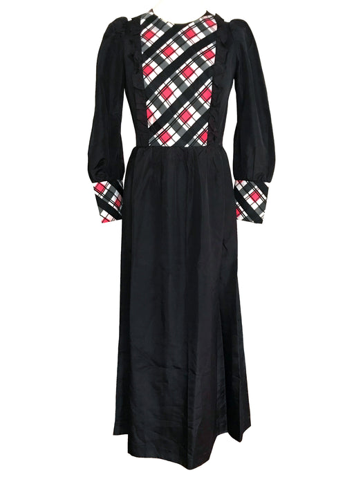 60s Edwardian Style Black Red White Taffeta Diamond Plaid Detail Ruffle MOD Maxi Dress