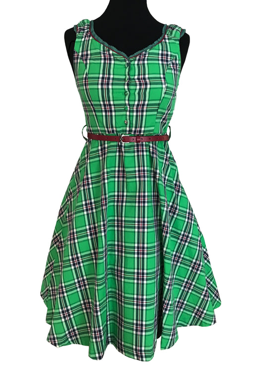 50s Style Green Tartan Check Swing Dirndl Folk Dress with Red Belt