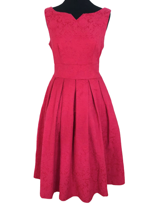 50s Style Pink Raspberry Jacquard Sweetheart Flared Swing Party Dress