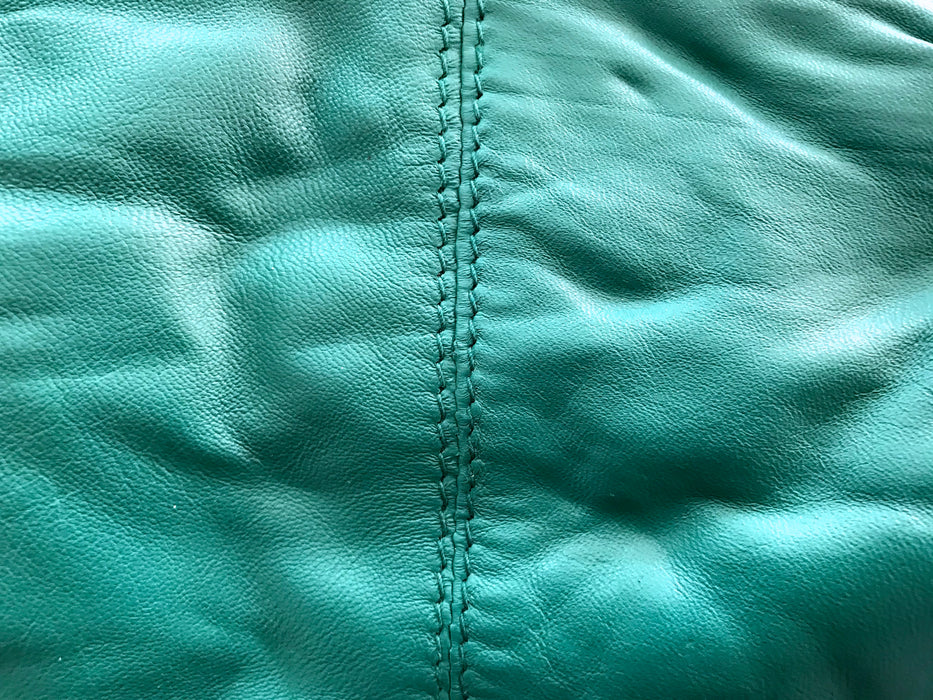 NWOT East Green Turquoise Genuine Soft Leather Two Compartment Clutch Handbag Purse