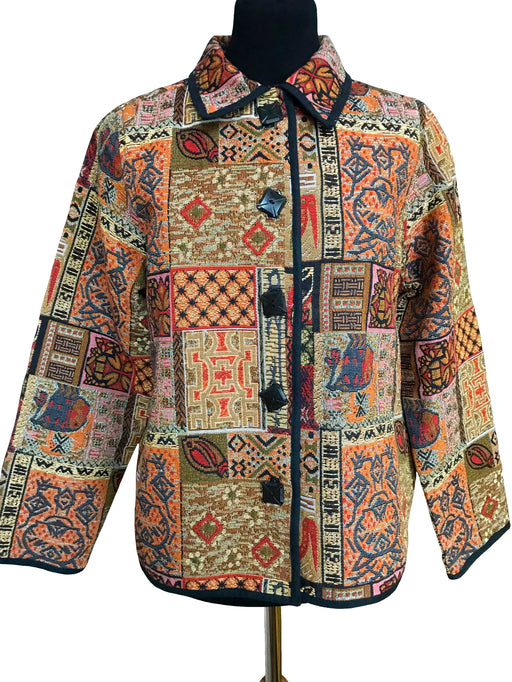 80s Southwestern Tribal Aztec Cotton Tapestry Boho Hippie Jacket Coat