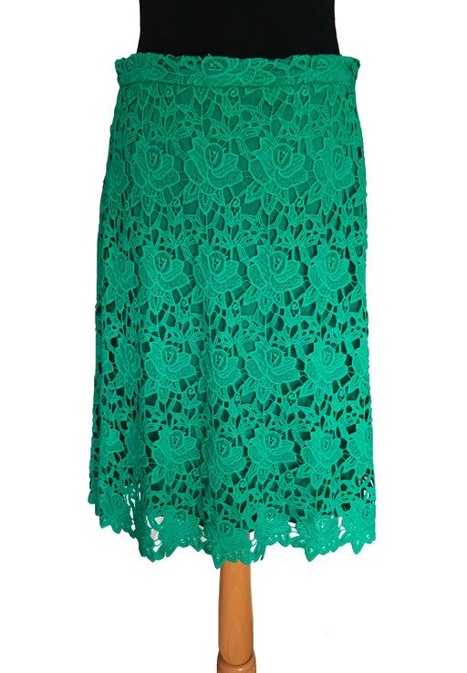 ZARA Emerald Green Floral Cotton Lace A-Line Knee Length Summer Skirt