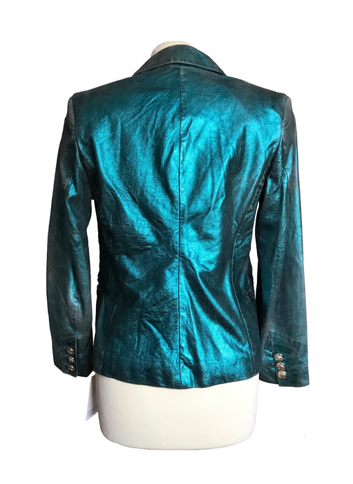 BNWT Emerald Green Glitter Distressed Lambskin Leather Blazer Jacket