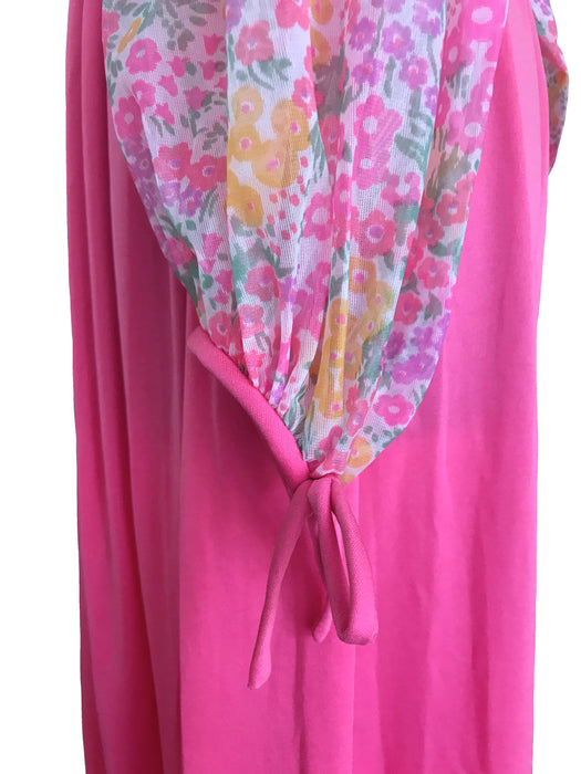 60s-70s Neon Pink Sheer Floral Print Bodice Tie Back Evening Maxi Dress