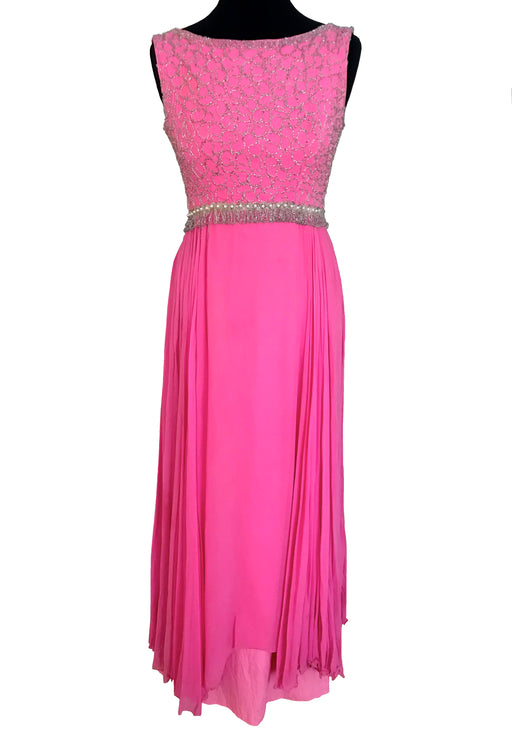 60s Bubble Gum Pink Chiffon Cut Out Back Beaded Evening Gown
