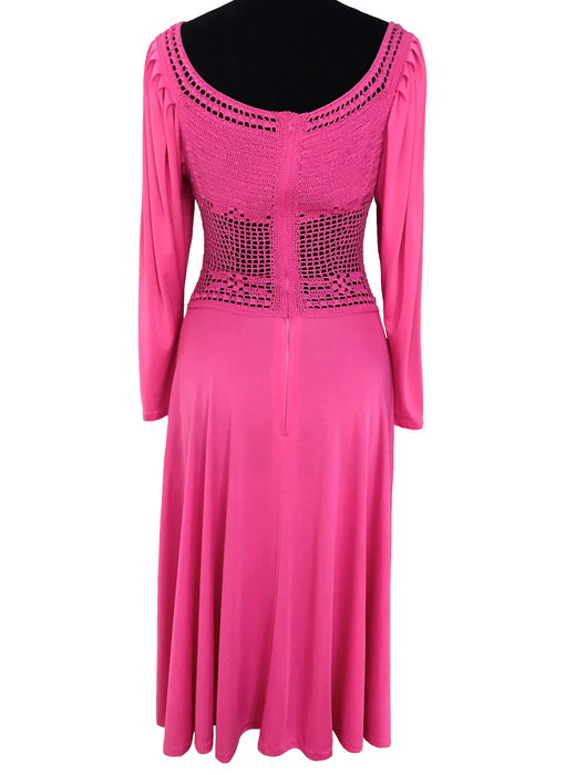 60s MOD Bubble Gum Pink Crochet Puffy Sleeves Slinky Midi Dress