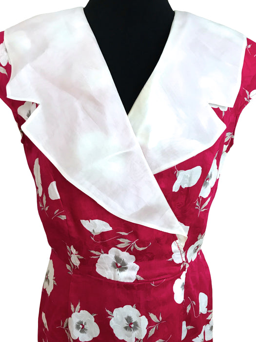 80s New Wave Raspberry Pink & Cream Sailor Collar Floral Print Sheath Dress