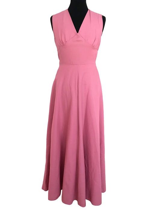 70s Hot Dusky Watermelon Pink Halter Neck Tie Back Boho Chic Maxi Dress