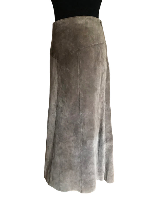70s -80s Dorothy Perkins Ash Brown Grey Suede Leather A-Line Flared Midi Skirt