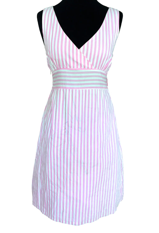 Pink & White Striped Cotton Cross Bust A-Line Summer Nautical Dress