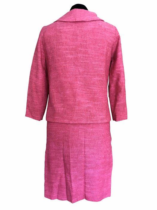 60s MOD Rose Pink Linen Blend Wiggle Two Piece Dress Jacket & Skirt Suit