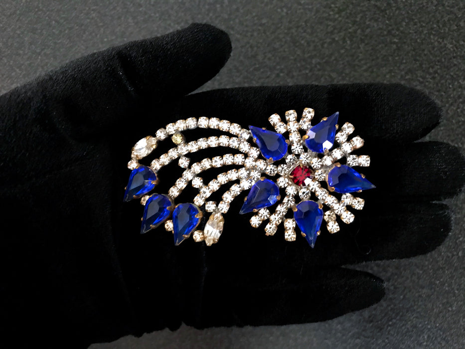 Old Czech Crystal Glass COMET Christmas Star Blue Red Clear Rhinestone Brooch