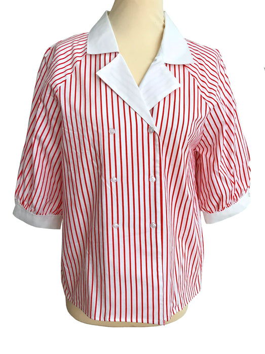 80s Cotton Red & White Striped Nautical Puffed Sleeves Buttoned Blouse