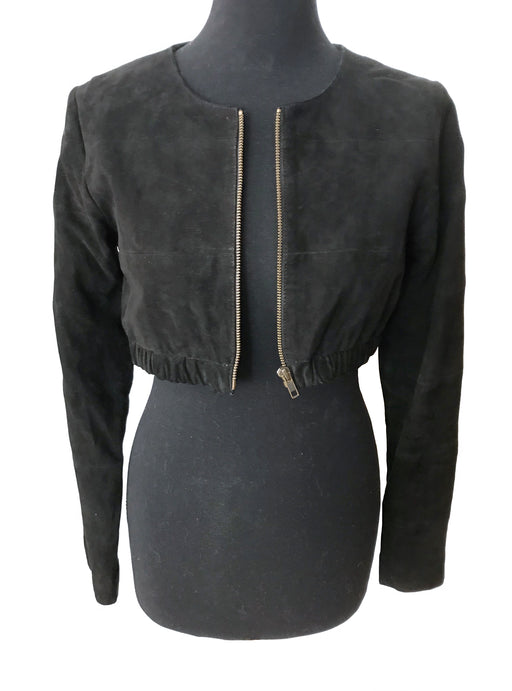 Genuine Black Suede Leather Cropped Bolero Zipped Jacket