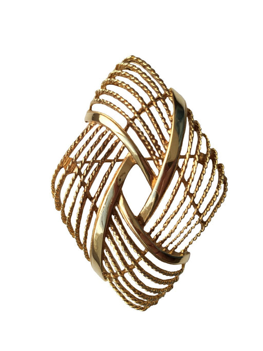 60s-70s Monet Goldtone Twist Rope Nautical Brooch Pin