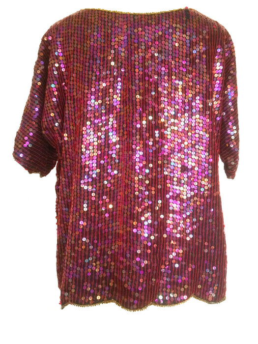 70s Vintage ESCALA Milano Paris Pure Silk Burgundy Rose Pinky Red Black & Gold Sequin Beaded Disco Party Evening Occasion Top  Blouse