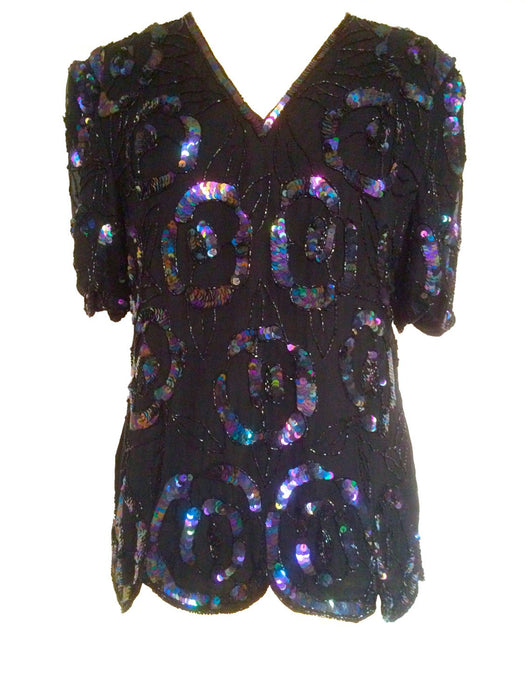 1980s Laurence Kazar Black Purple Iridescent Sequinned Beaded Shirt Tunic Top Glam Christmas New Year Evening Party Wedding Races Trophy Top