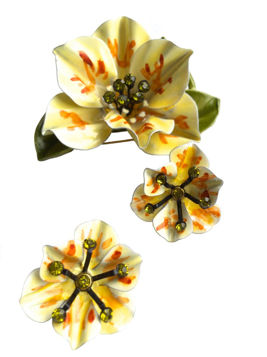 60s 70s Vintage Summer Flower Brooch Earring Set Yellow Green Orange Enamel & Peridot Rhinestones