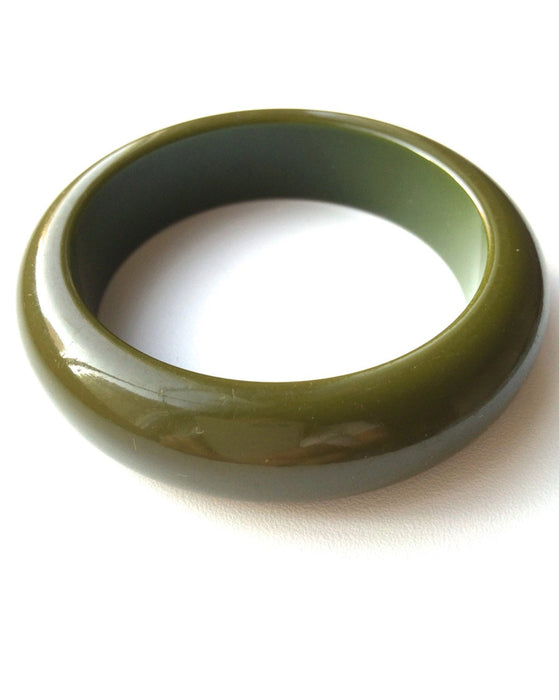 50s Vintage Dark Army Green Chunky Beautifully Domed Bakelite Bangle Bracelet Tested Authentic