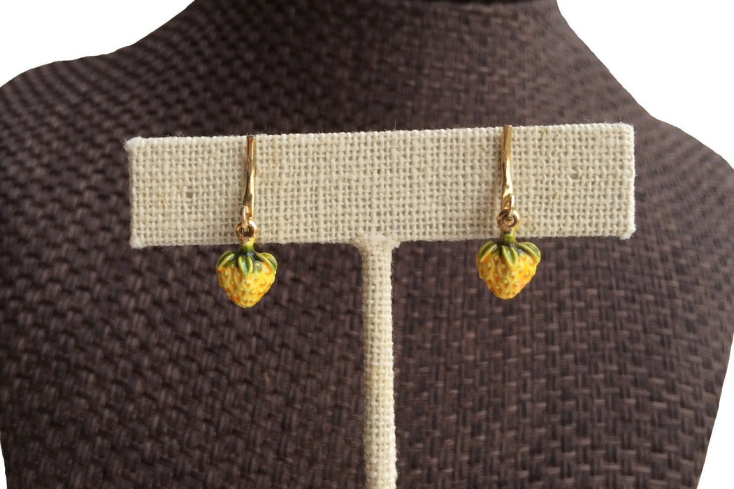 Vintage Earrings teeny weeny little strawberry dangles yellow clip on, Easter gift, gift for girl