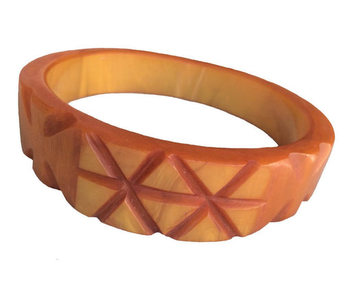 30s Art Deco Vintage Marbled Butterscotch carved bakelite bangle bracelet Tested Authentic